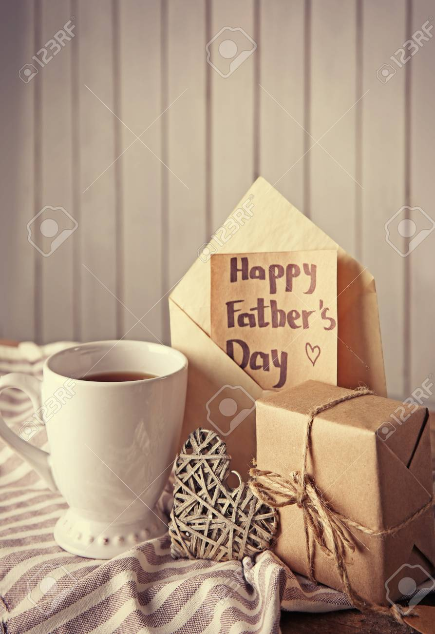 Greeting Card For Happy Father S Day With Tea Cup Gift Box On Stock Photo Picture And Royalty Free Image Image 95751484