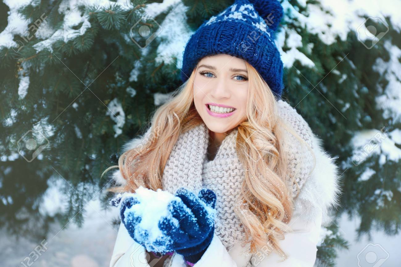 e6fe1ed79 Winter Portrait Of Young Beautiful Blond Woman In Her Warm Clothing ...