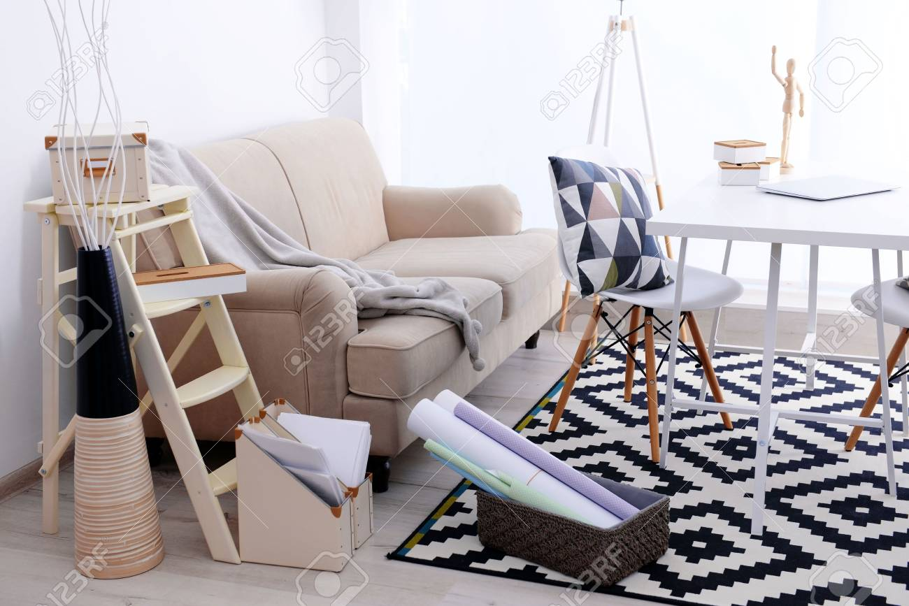 Modern room design with big sofa. Furniture set with table and..