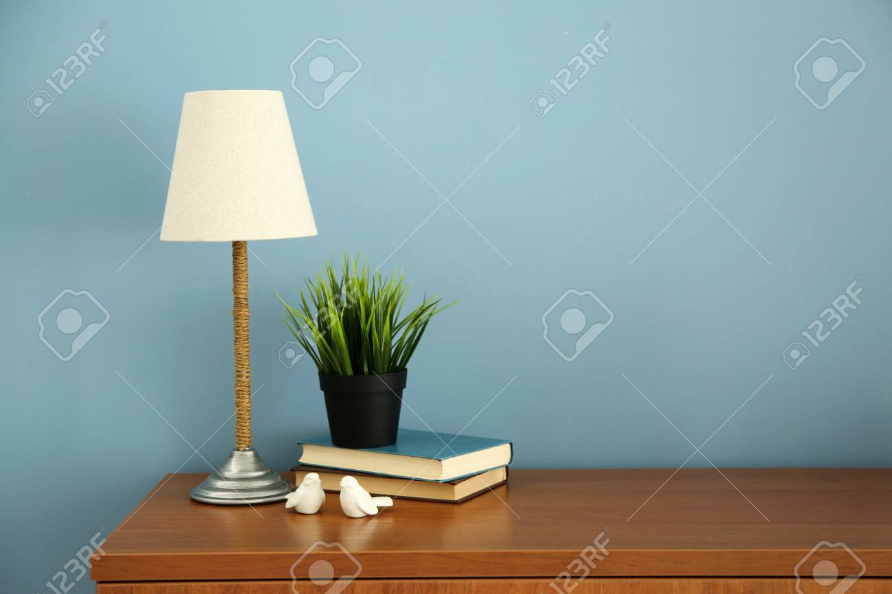 Picture of: Design Interior With Lamp And Plant On Blue Wall Background Stock Photo Picture And Royalty Free Image Image 95743899