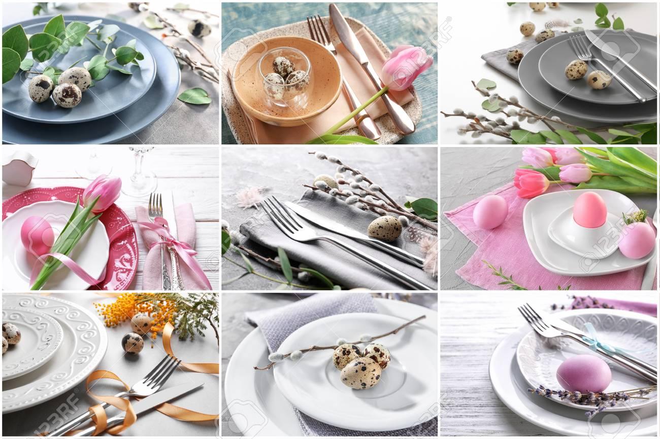 Collage Mit Verschiedenen Ideen Für Festliches Ostergedeck% 00 Lizenzfreie  Fotos, Bilder Und Stock Fotografie. Image 96051166.