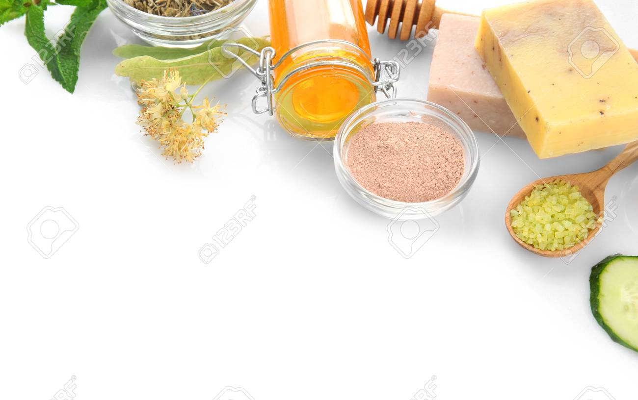 Natural Ingredients For Skin Care On White Background Stock Photo Picture And Royalty Free Image Image 96080571