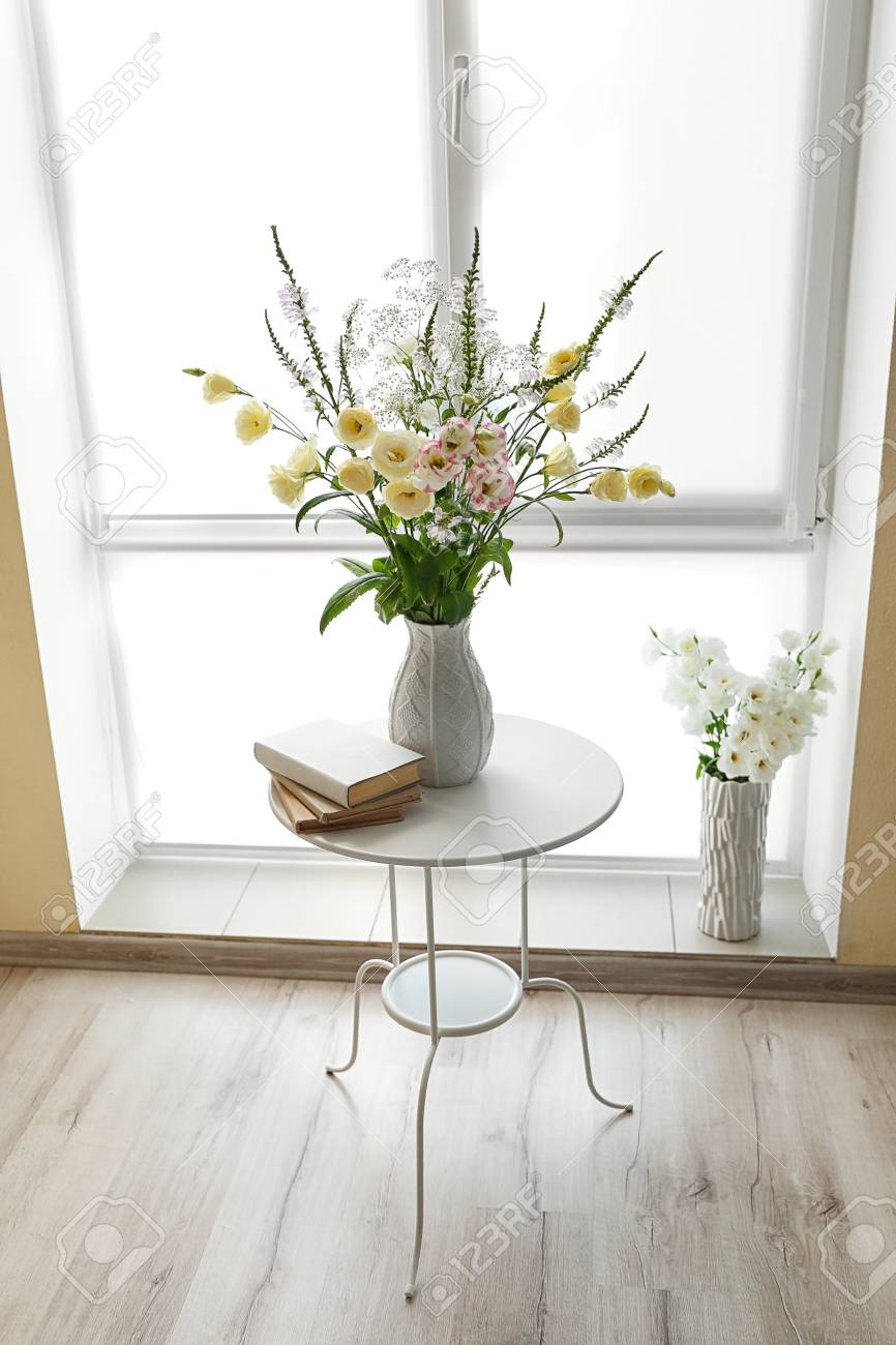 Beautiful Flower Bouquets In Modern Interior Stock Photo Picture
