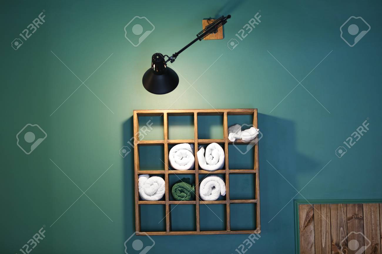 Wooden Wall Storage For Towels In A Barber Shop Stock Photo, Picture ...