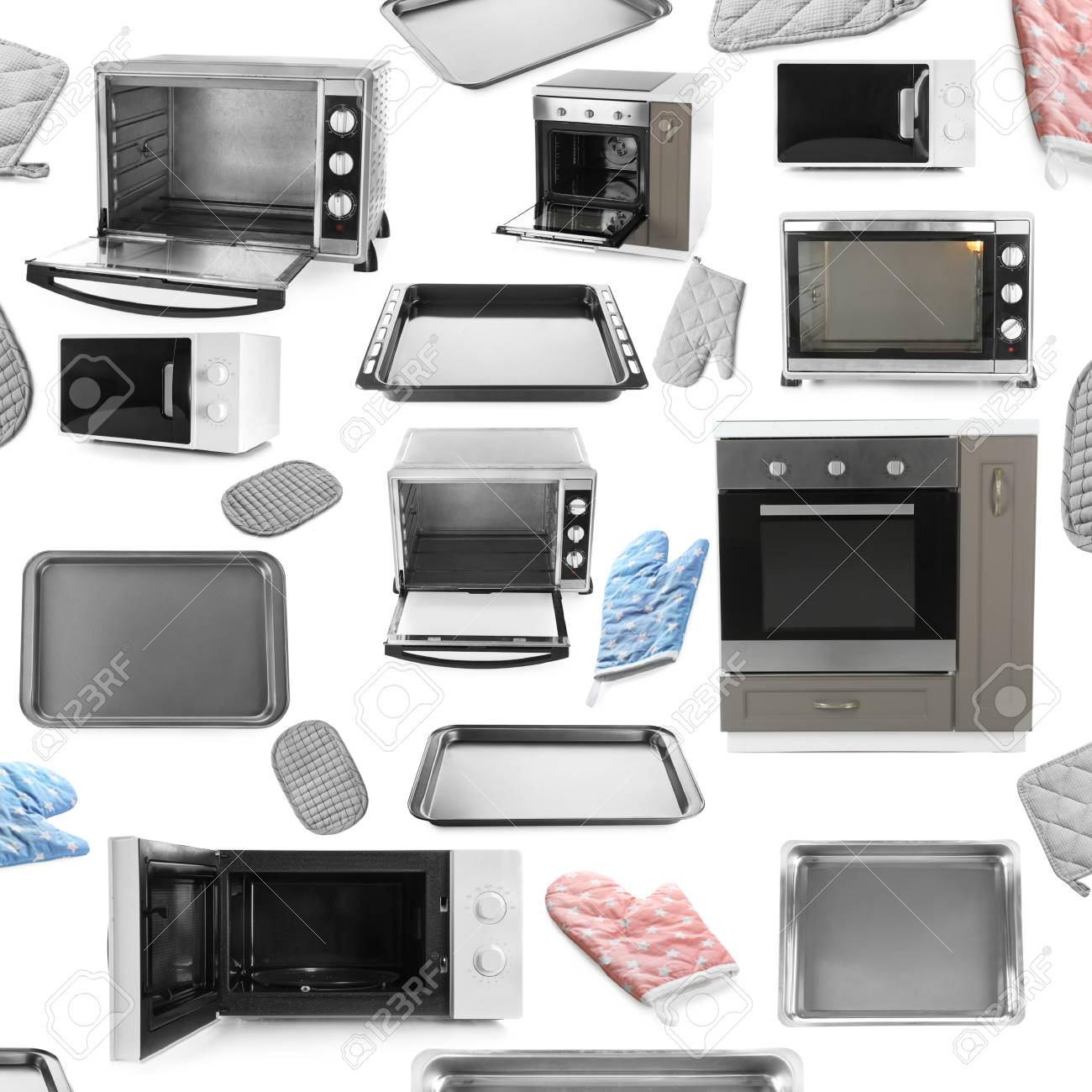 Set Of Different Ovens And Kitchenware On White Background Stock ...