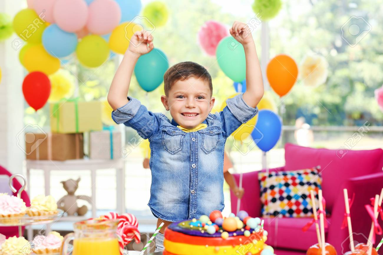 Children S Funny Birthday Party In Decorated Room Stock Photo