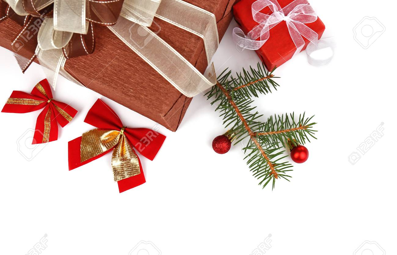 christmas presents with decorations on white background stock photo 96250726