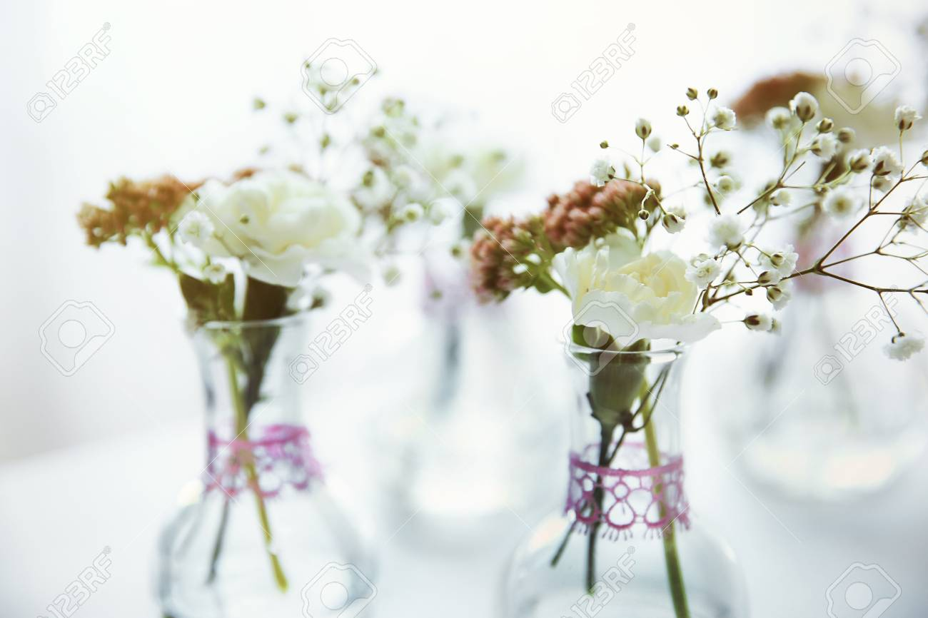Mini glass vases with flowers on table Stock Photo - 96271027 & Mini Glass Vases With Flowers On Table Stock Photo Picture And ...