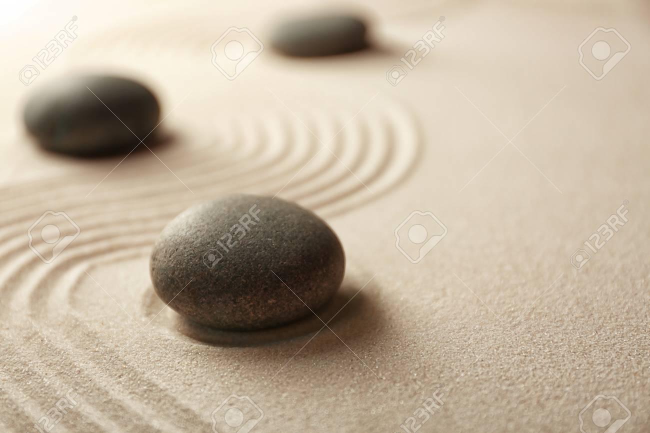 Japanese Zen Garden. Pebbles On A Sand Stock Photo   96270509