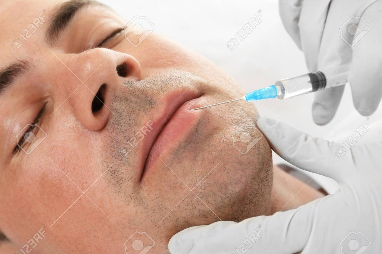 Plastic surgery concept  Hyaluronic acid injection