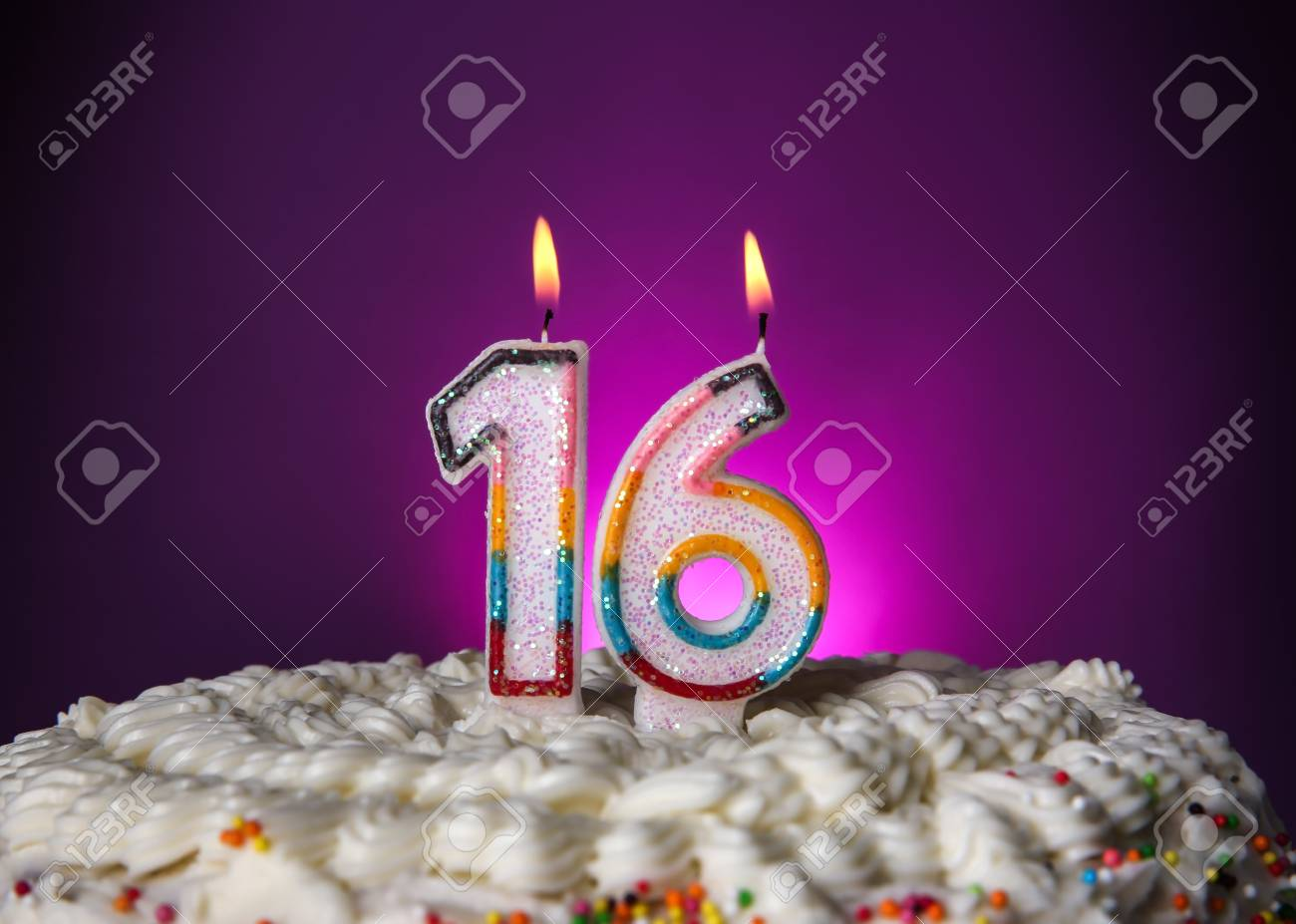 Awesome Tasty Cake With Candles For Sixteenth Birthday On Purple Personalised Birthday Cards Epsylily Jamesorg