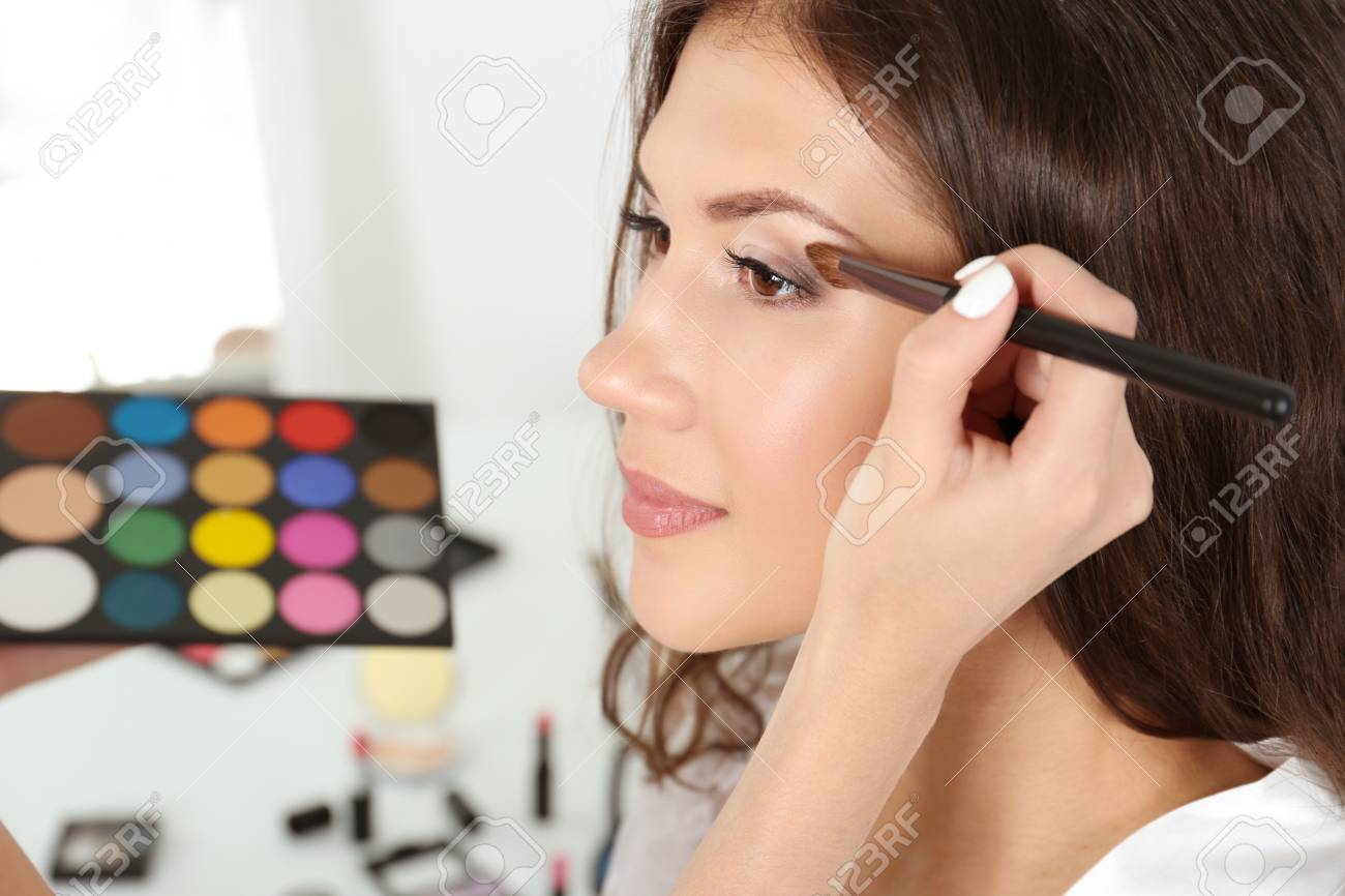 Wedding Preparation Professional Makeup Artist Applying Eye Stock