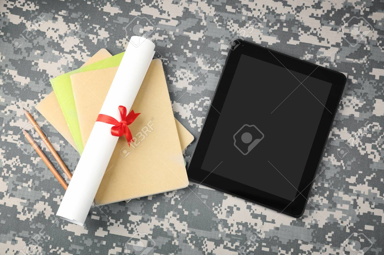 Pleasant Diploma Scroll Stationery And Tablet On Camouflage Background Download Free Architecture Designs Rallybritishbridgeorg