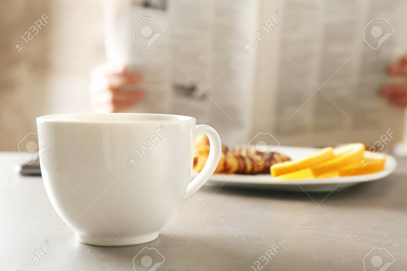 Cup Of Tea With Tasty Breakfast On Kitchen Table Stock Photo Picture And Royalty Free Image Image 97052646