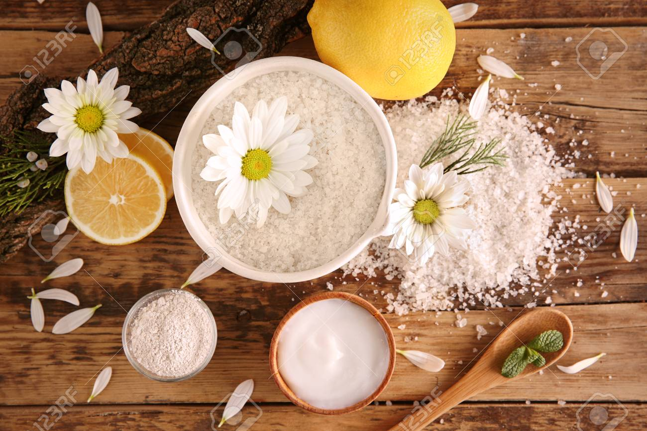 Natural ingredients for homemade cosmetics on wooden background