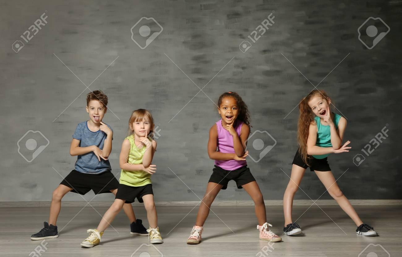 Cute funny children in dance studio - 97299267
