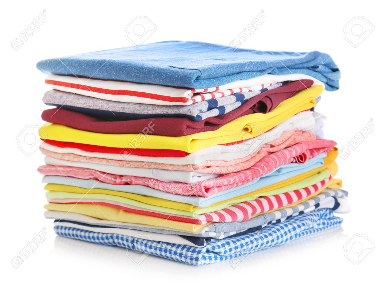 Stack of colorful clothes on white background, closeup - 97368882