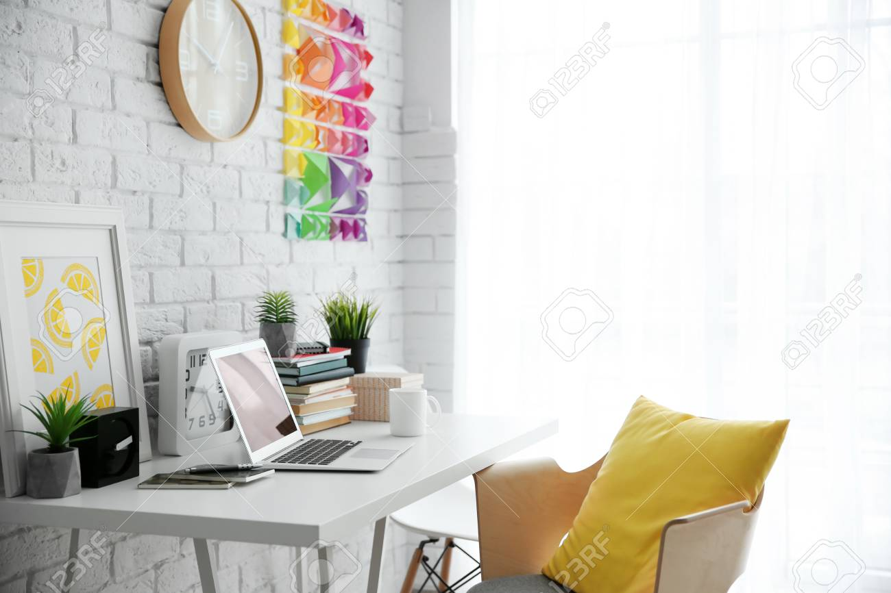 Modern Interior Of Designer Workplace Stock Photo Picture And