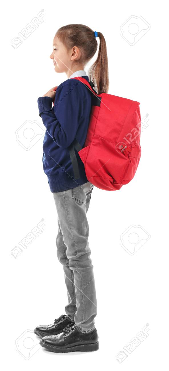 b2d81888baa5 School child with backpack on white background. Incorrect posture..