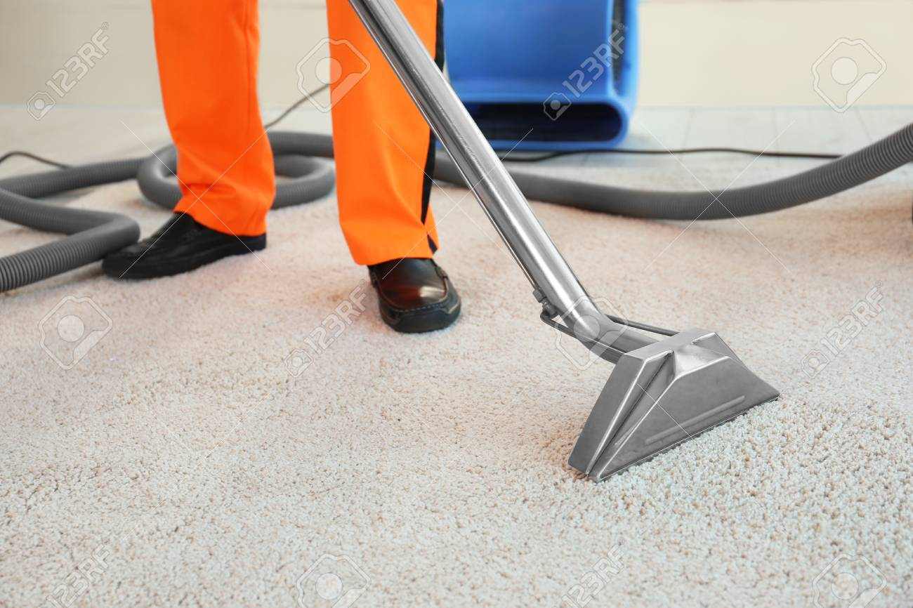 dry cleaner s employee removing dirt from carpet in flat stock photo