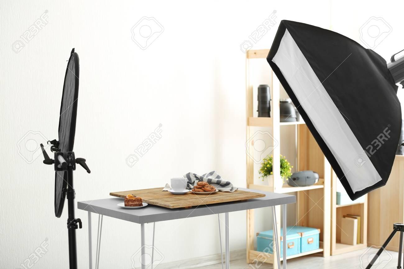 Photo Studio With Professional Lighting Equipment While Shooting ...