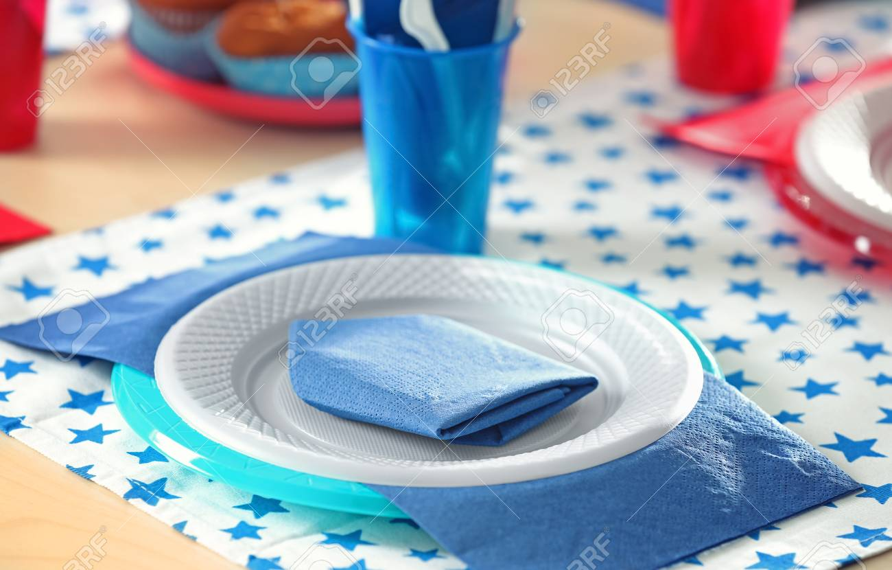 Stock Photo - Table setting with plastic ware for summer picnic & Table Setting With Plastic Ware For Summer Picnic Stock Photo ...