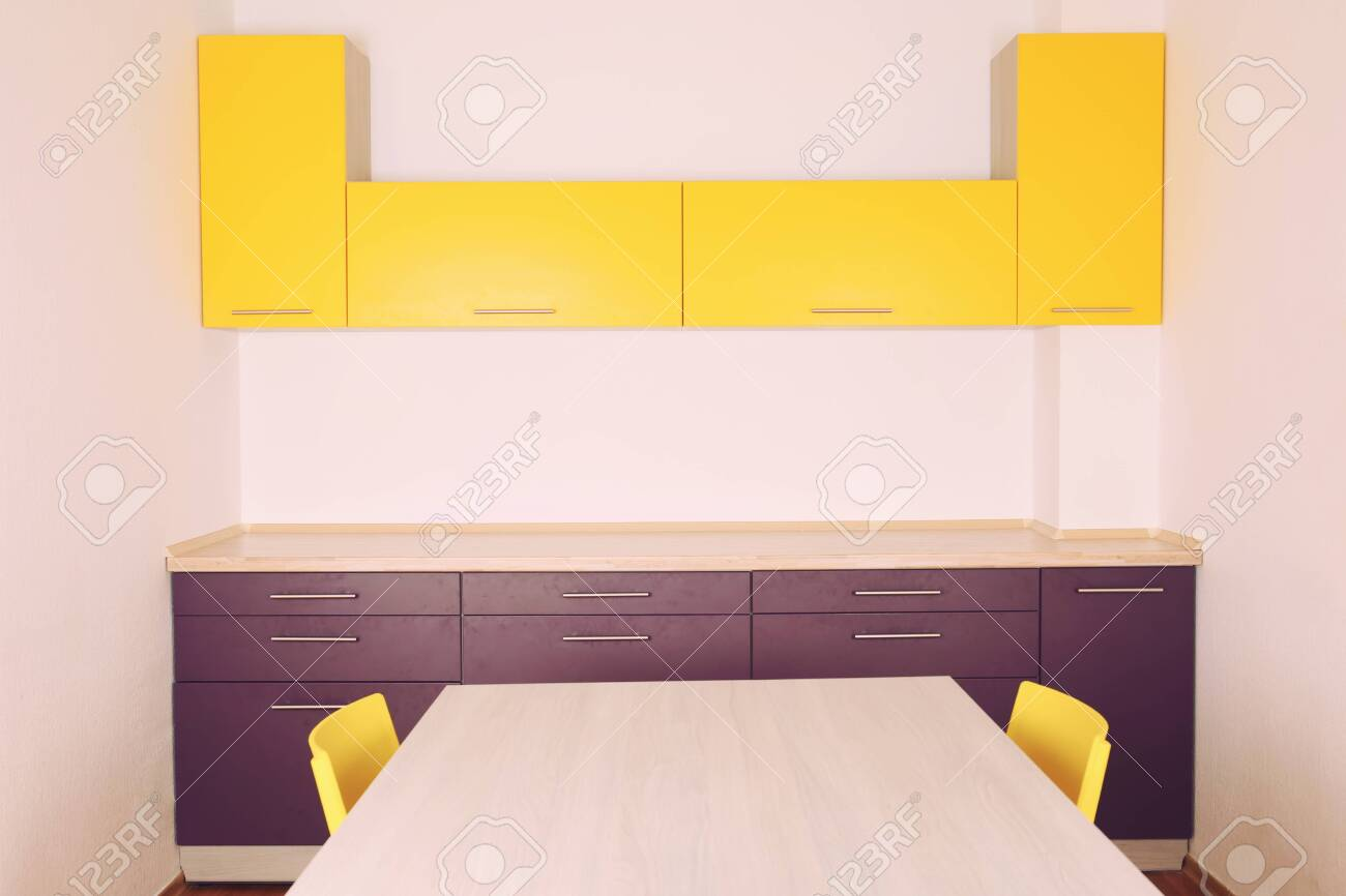 Interior Of Modern Lilac Kitchen Stock Photo Picture And Royalty Free Image Image 97799778