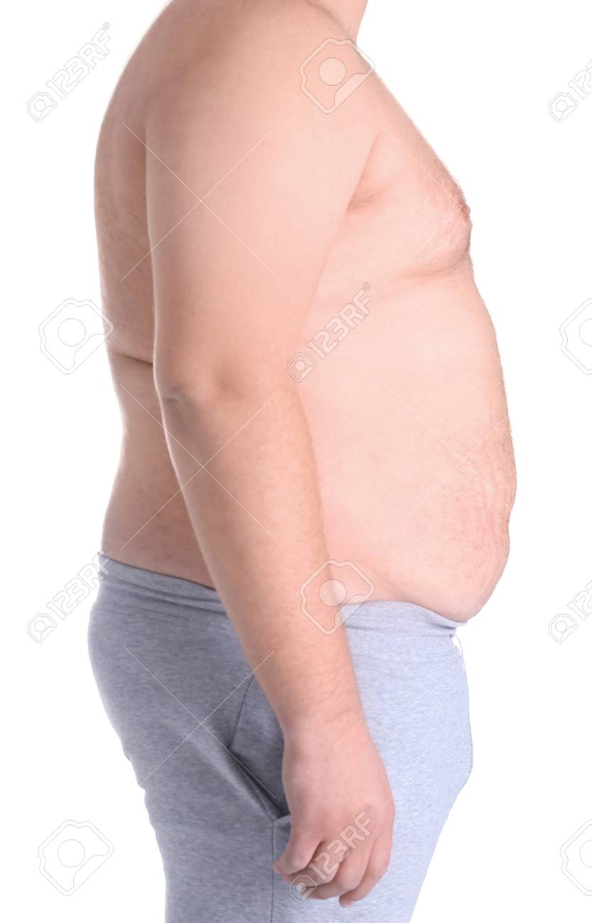 Fat Man On White Background Weight Loss Concept Stock Photo Picture And Royalty Free Image Image 97802072