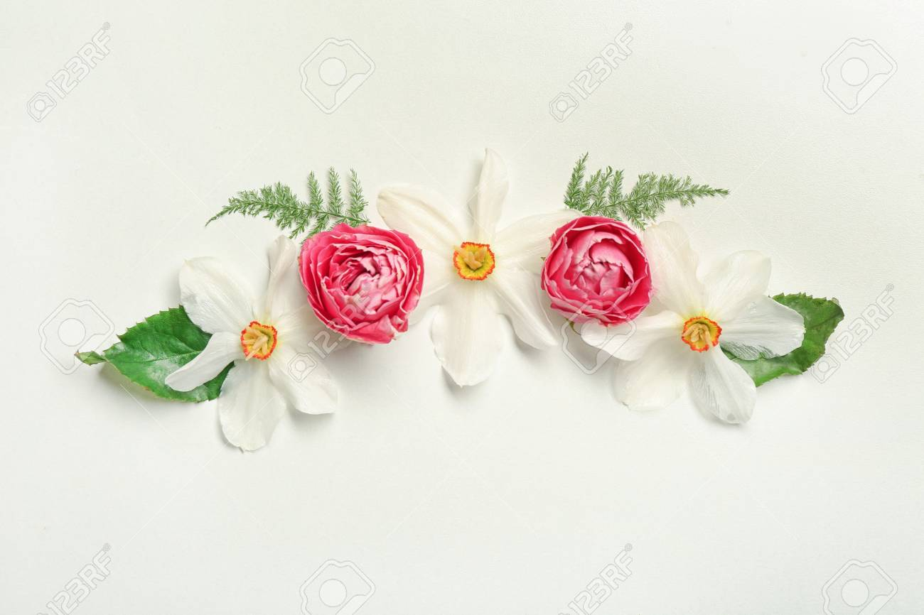 Floral composition of different beautiful flowers and green leaves floral composition of different beautiful flowers and green leaves on white background stock photo 97889222 izmirmasajfo