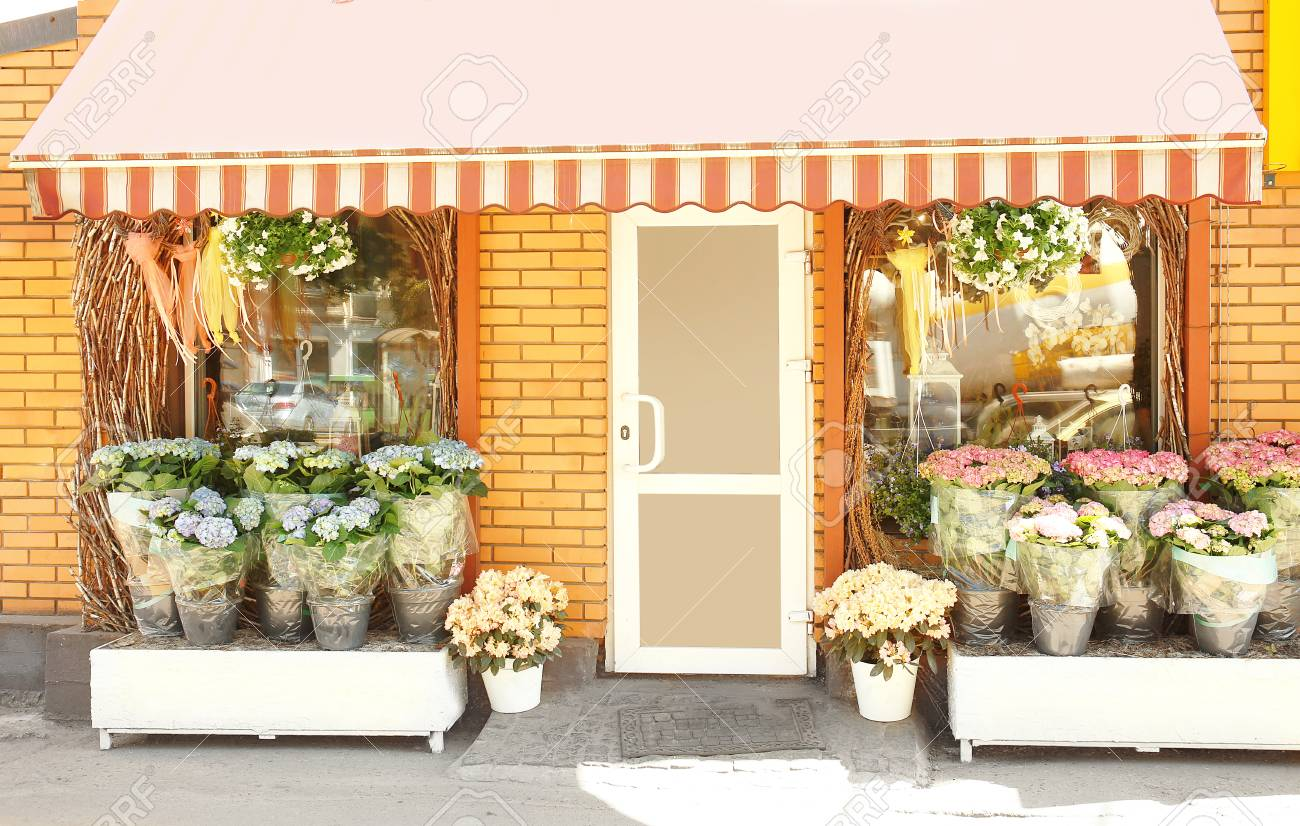 Facade of beautiful flower shop on sunny day stock photo picture facade of beautiful flower shop on sunny day stock photo 97926113 izmirmasajfo Gallery
