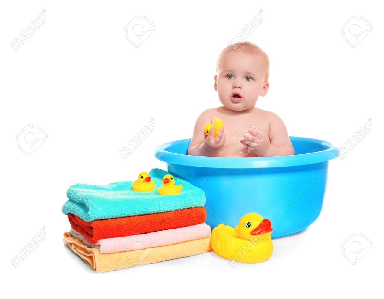Cute Baby Washing In Bath Basin On White Background Stock Photo ...