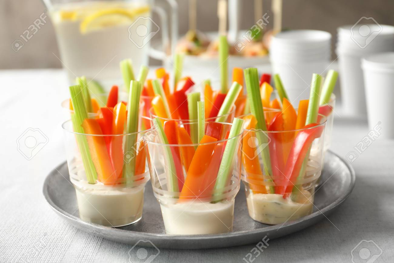 Delicious appetizers for baby shower on metal plate Stock Photo - 98686884