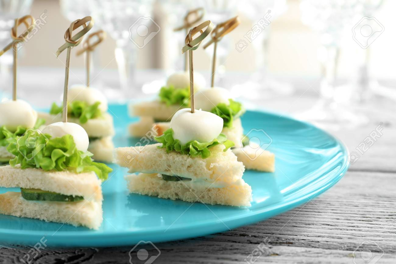 Mini Sandwiches For Baby Shower On Plate Stock Photo Picture And
