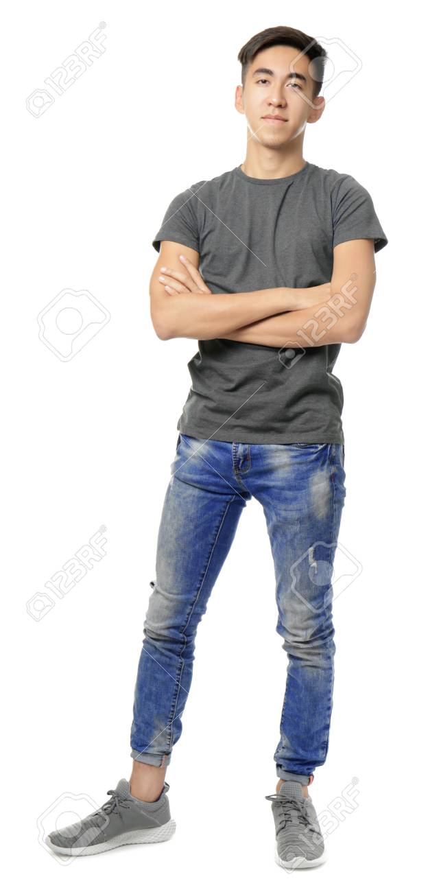 Teenage Boy In Casual Clothes On White