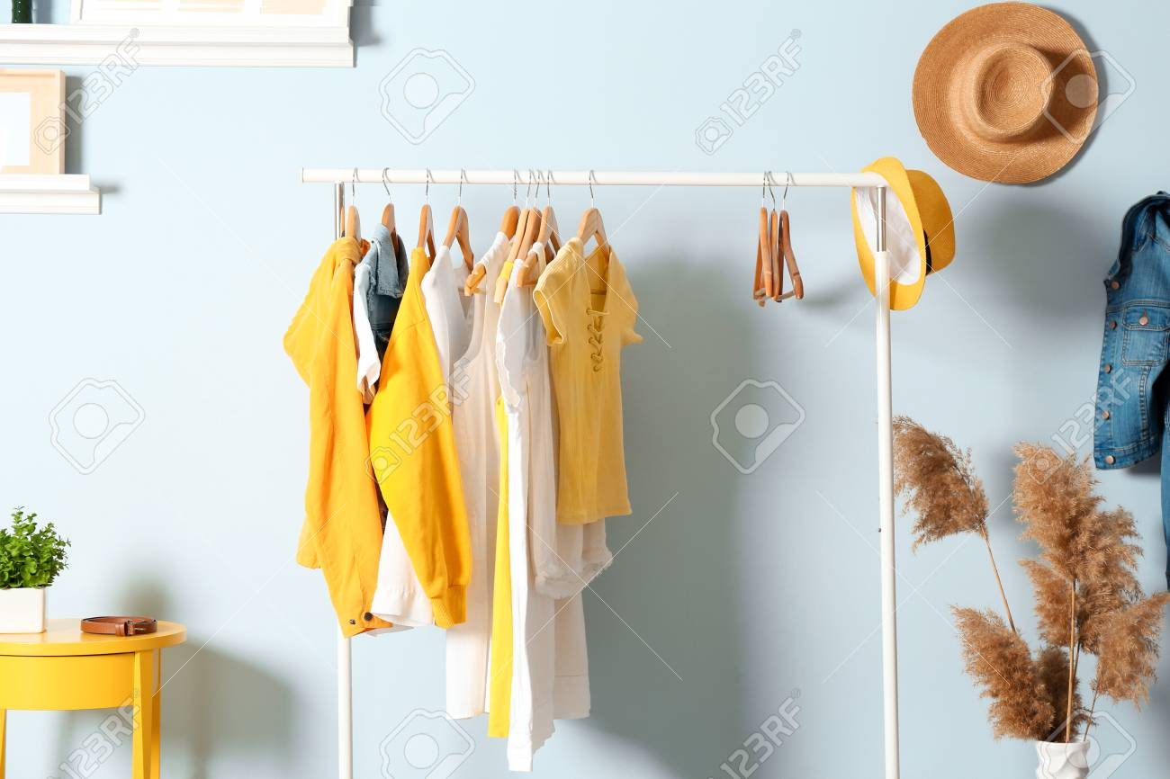 Collection of clothes hanging on rack in dressing room - 99261636