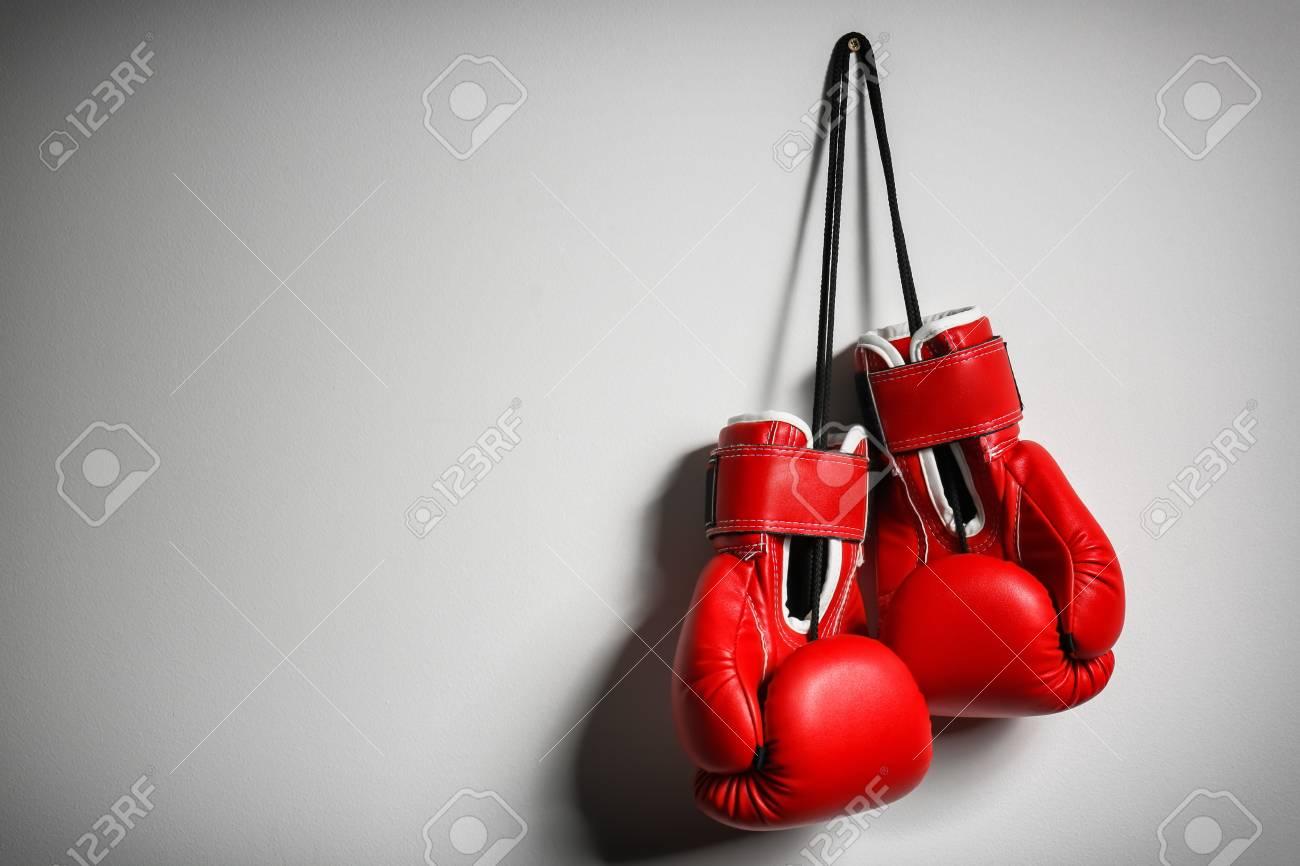Boxing gloves on light background - 103177727