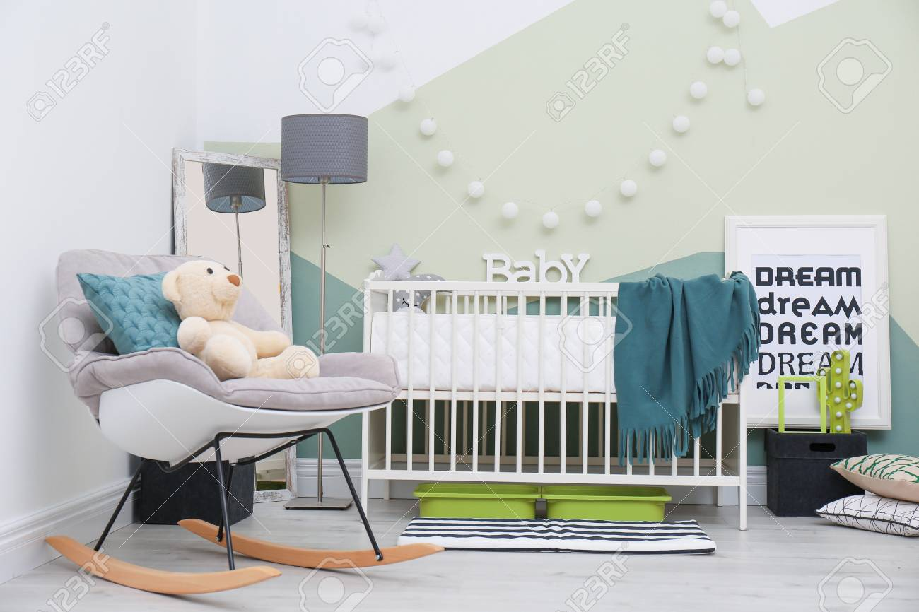 Swell Beautiful Interior Of Baby Room With Crib And Rocking Chair Download Free Architecture Designs Scobabritishbridgeorg
