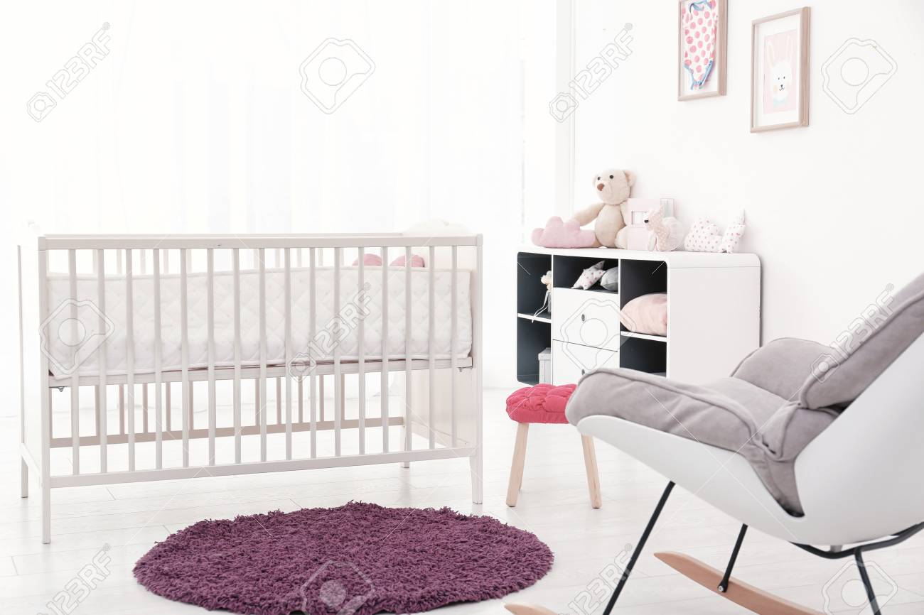 Tremendous Baby Room Interior With Comfortable Crib And Rocking Chair Spiritservingveterans Wood Chair Design Ideas Spiritservingveteransorg