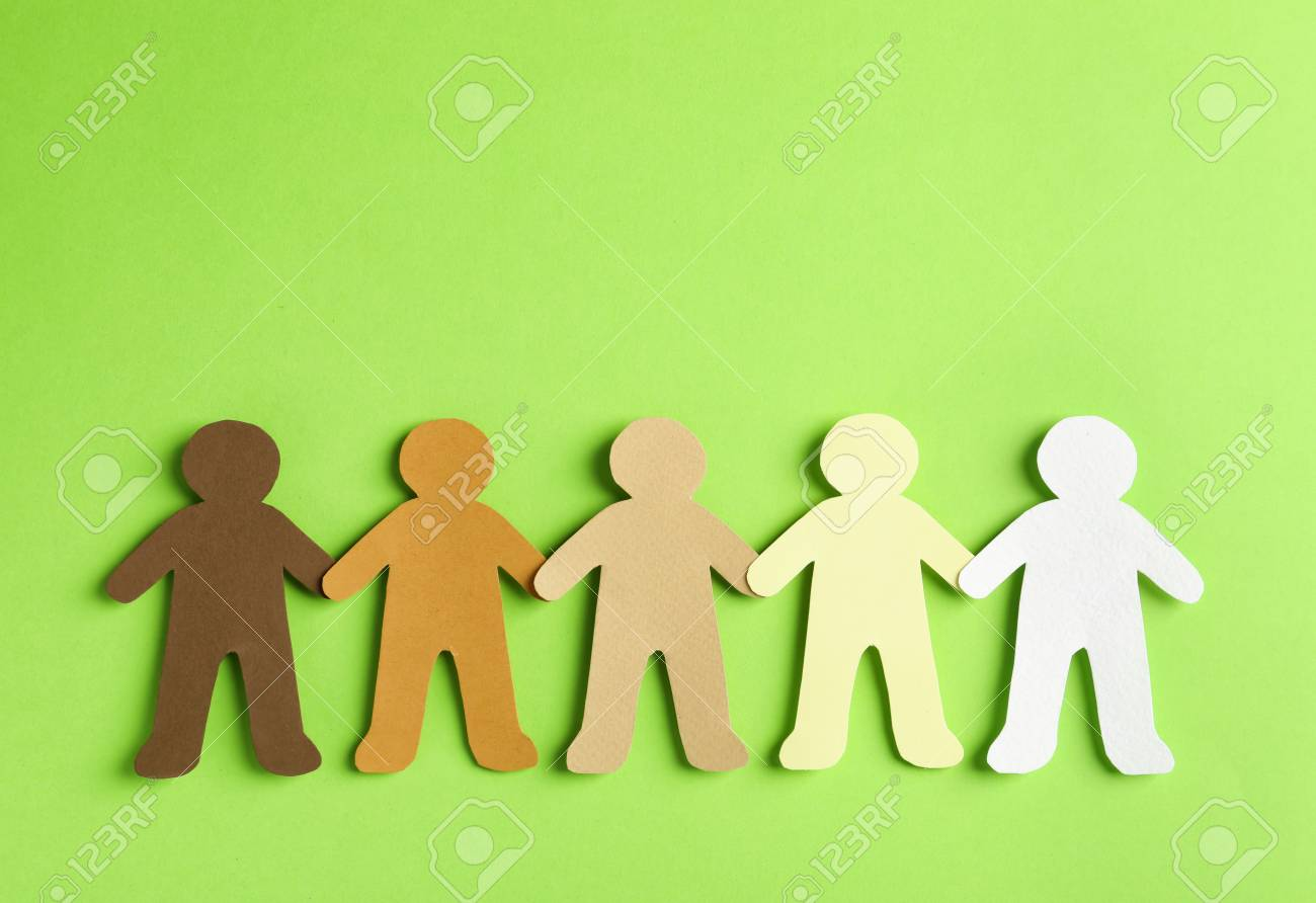 Paper people holding hands on color background, top view  Unity