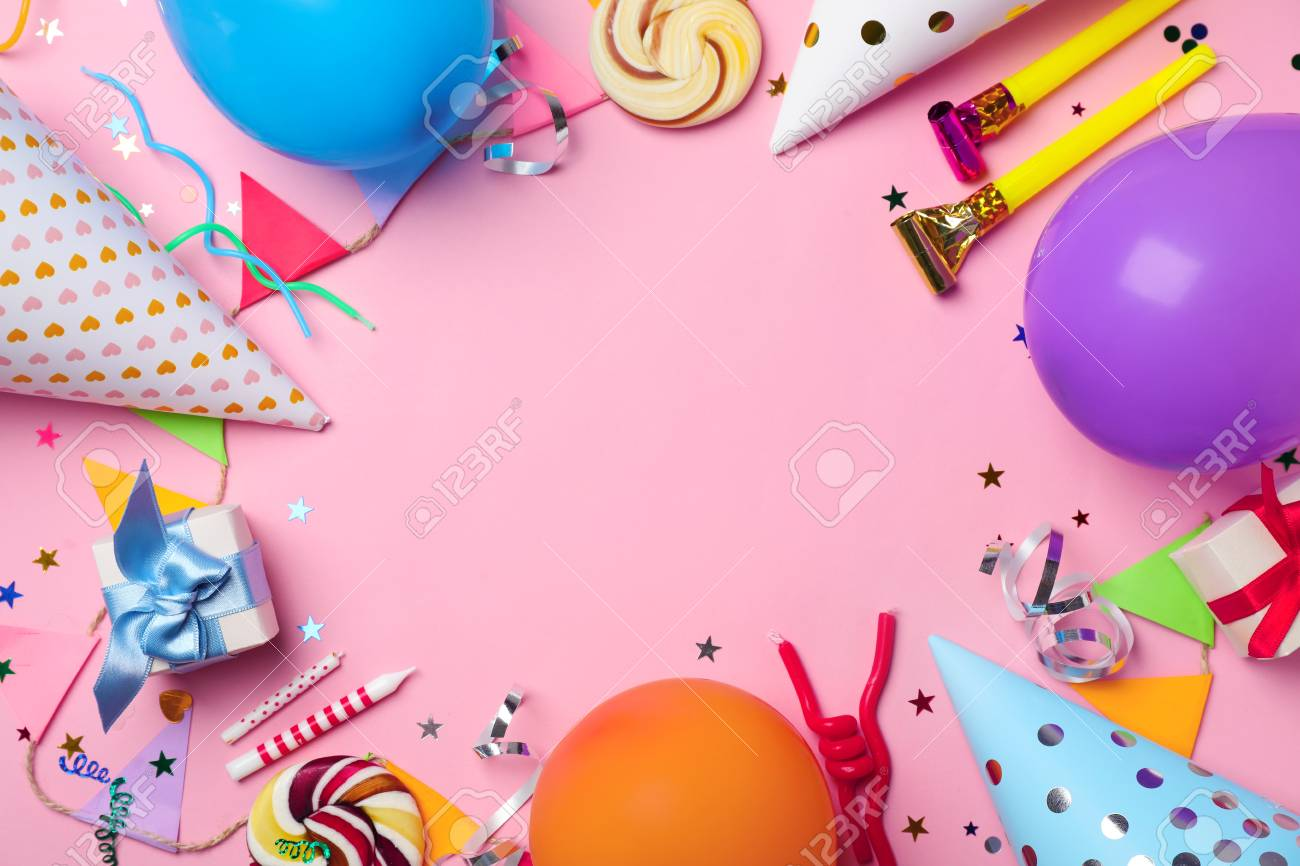 Flat Lay Composition With Birthday Party Items On Color Background