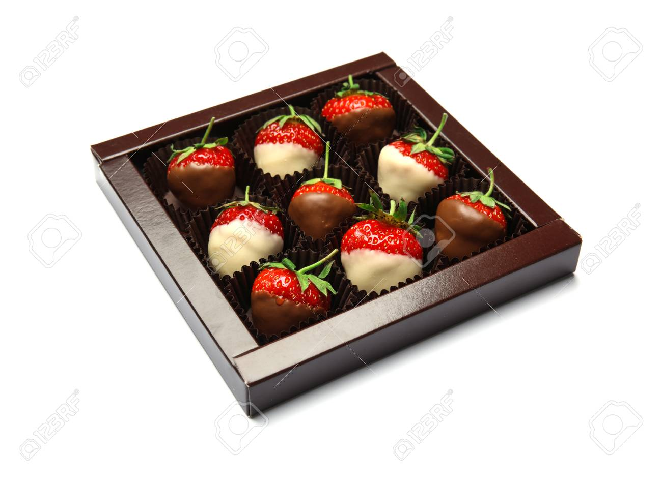 Box With Chocolate Covered Strawberries On White Background Stock Photo Picture And Royalty Free Image Image 106002296