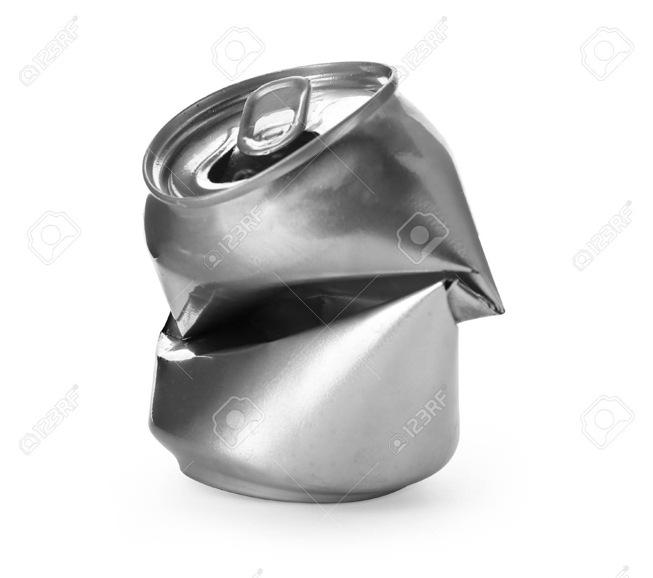 Empty crumpled aluminum can on white background. Metal waste recycling - 106156807