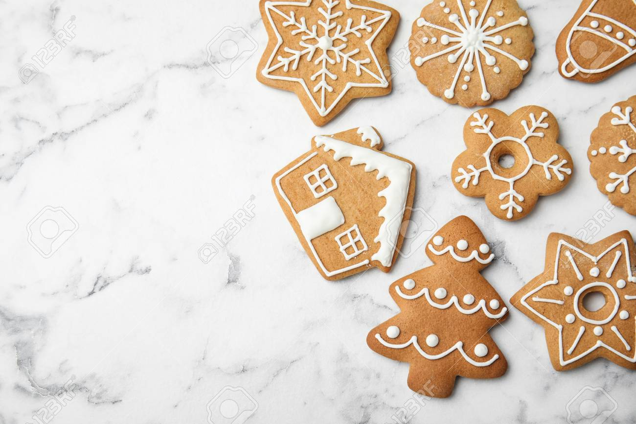 Tasty Homemade Christmas Cookies On Marble Background Top View