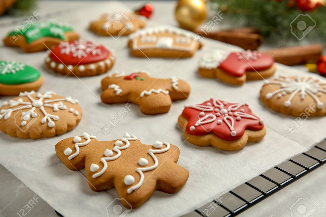 Tasty Homemade Christmas Cookies On Parchment Paper