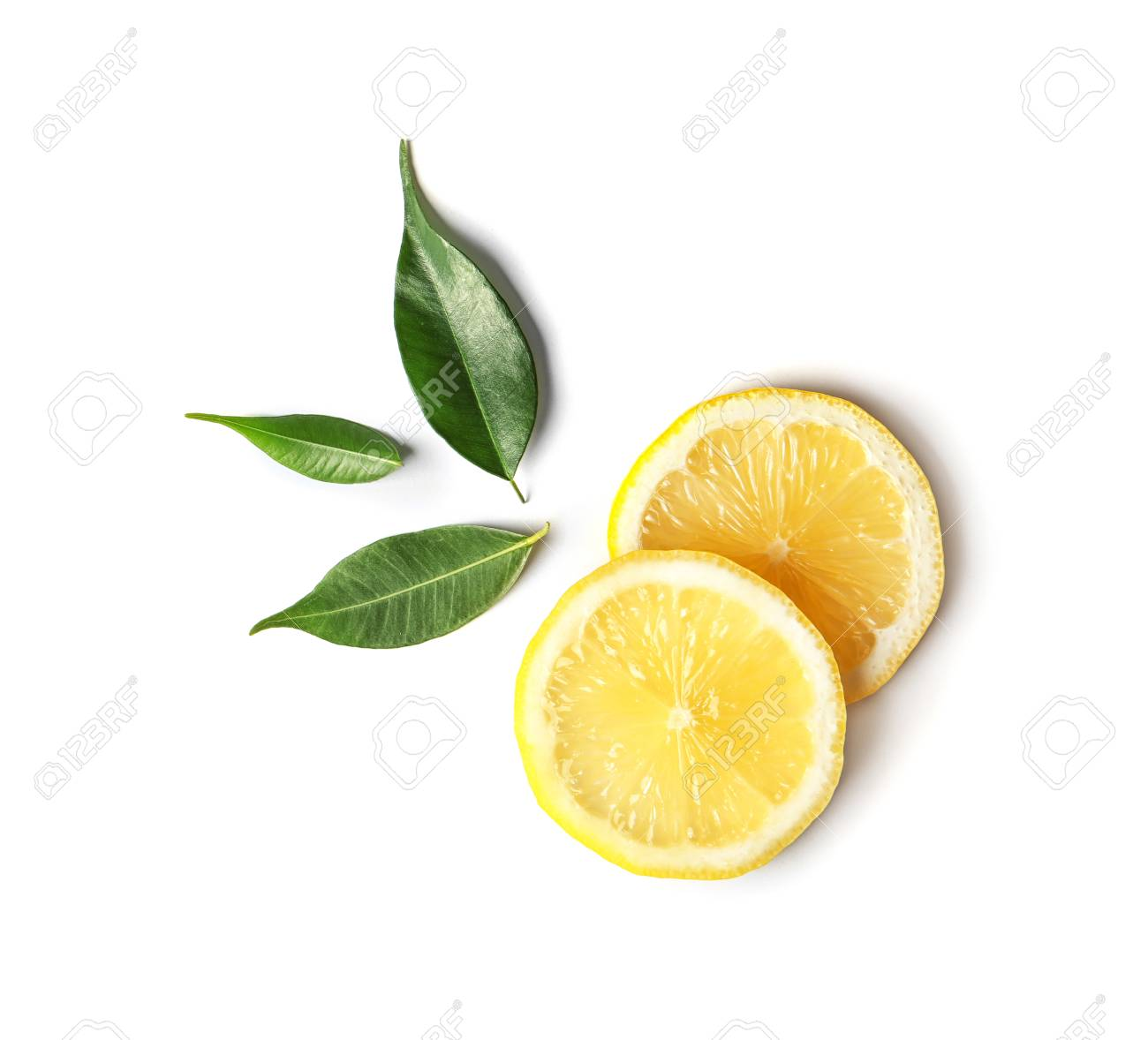 Flat lay composition with lemon slices and leaves on white background - 106323342