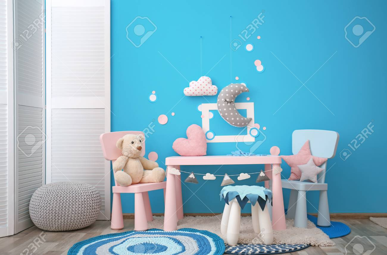Modern Interior Of Child Game Room With Table Chairs And Toys Stock Photo Picture And Royalty Free Image Image 106533662