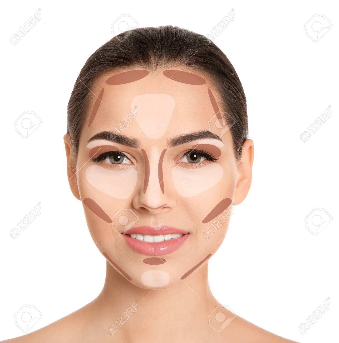 Woman With Facial Makeup Contouring Map On White Background Stock Photo Picture And Royalty Free Image Image 107161612