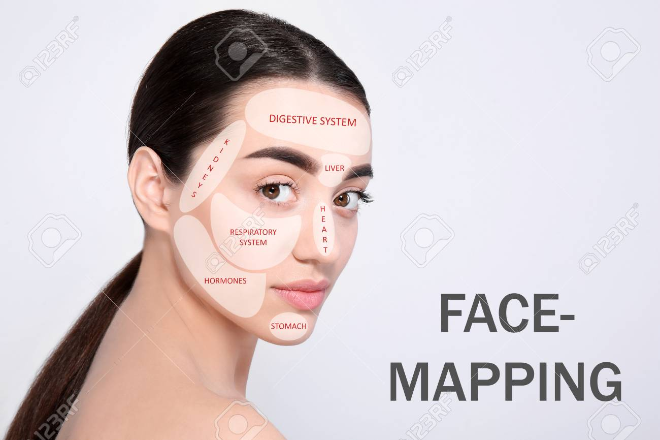 Young woman with acne face map on light background. Skin care.. on zit mapping, anxiety mapping, skin mapping, atrial fibrillation mapping, botox mapping, anthrax mapping,