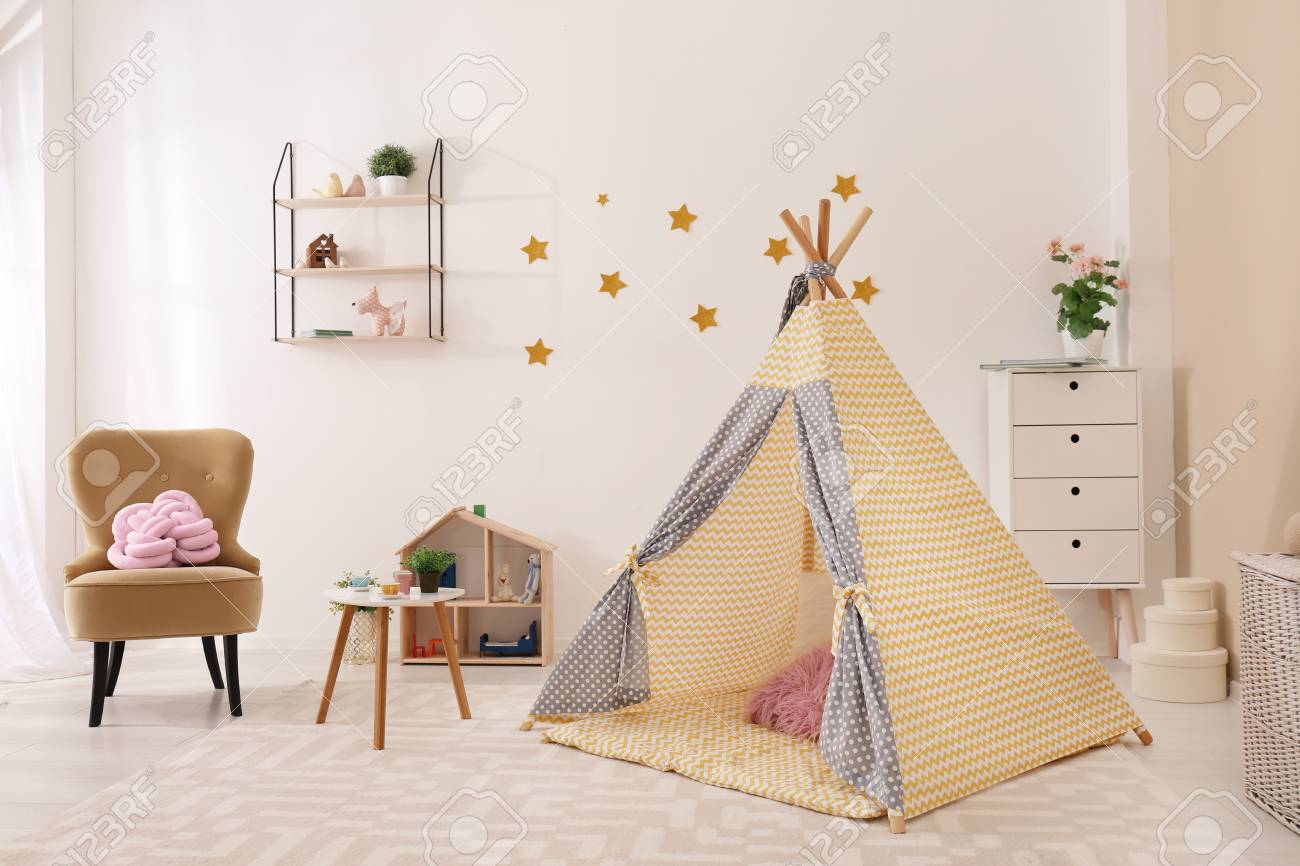 Cozy kids room interior with play tent and toys Stock Photo - 107265862 & Cozy Kids Room Interior With Play Tent And Toys Stock Photo Picture ...