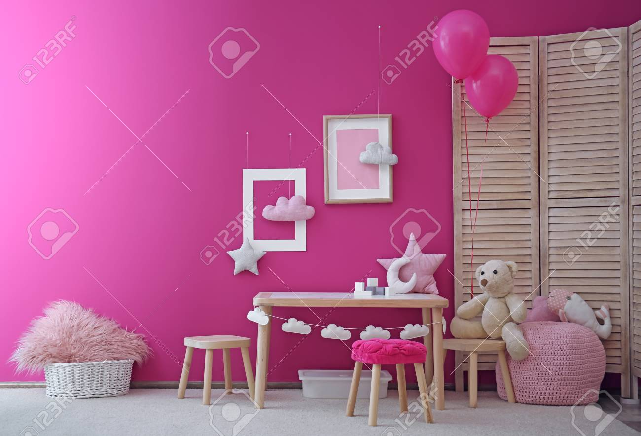Modern Interior Of Child Game Room With Table Chairs And Toys Stock Photo Picture And Royalty Free Image Image 107747447